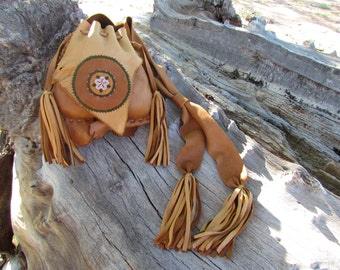 Deerskin Leather Purse, Beaded Flower, Fringe, Women's Bag, Ladies Handbag, Buckskin, Tribal, Aztec, Brown, Green, Pink, Rose, Boho, Hippie