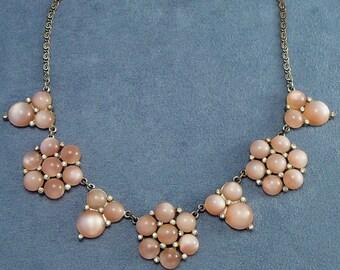 Vintage Pink Moonglow Lucite & Rhinestones Flowers Necklace