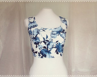 Bouquet of Peonies Crop Top - Summer Floral Crop Top, Garden Party, One of a Kind in Size Small/Medium