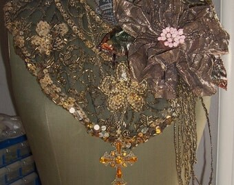 Fabulous Large Antique Bronze Gold Lame Flower with Streamers