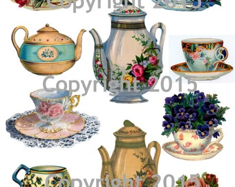 Printable Victorian  Teapots and Teacups Collage Sheet  Instant Digital Download, Tea and Flowers, Scrapbook Embellishments