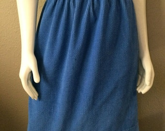 Vintage Women's 80's Skirt, Blue, Corduroy, Knee Length (M/L)