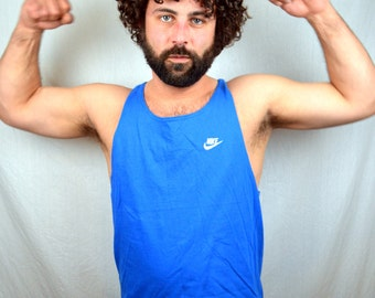 Vintage 80s Blue Nike Gray Tag 80s 90s Muscle Tank Top