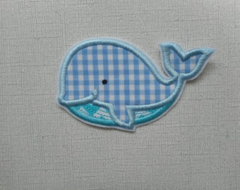Free Shipping Ready to Ship Boy Whale Fabric Iron on applique