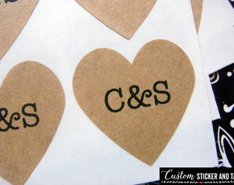 108 custom wedding stickers heart 3/4 inch brown kraft paper, envelope seals, wedding stickers, mini heart stickers, custom stickers (S-07)
