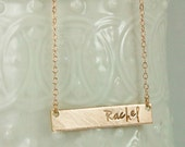 Rose Gold Necklace - Pink Gold Bar Necklace - Gold Name Plate Necklace - rose gold necklace - Personalized Gold Bar Necklace