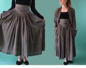Vintage 80s NORMA KAMALI Jumper Dress / High Waist Foldover Suspender Skirt & Oversized Jacket / Couture Vintage Designer Dress S