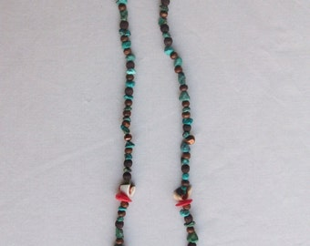 indian made wampum necklace with spikes
