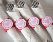 Pink Heart Party - Napkin Rings - Silverware Wraps - Red & Pink Heart Birthday Party and Baby Shower Decoration - Valentines Birthday - (12)