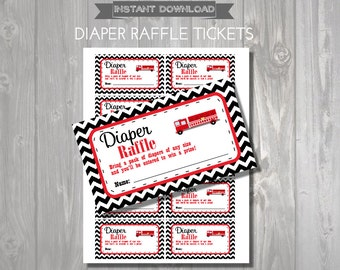 DIAPER RAFFLE TICKETS - Printable Baby Shower Raffle Tickets - Firetruck Baby Shower - Instant Download - Firetruck Printable Shower Games