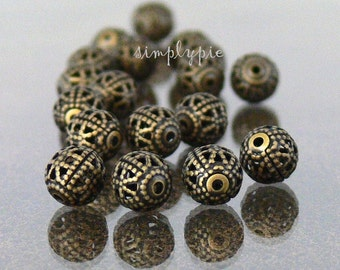 Antiqued Brass Filigree, 6mm Round Metal Brass Beads, 25