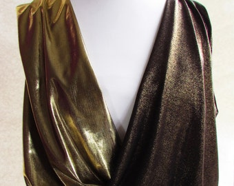 Black gold top Gold cropped top Gold crossover top Gold lamé top