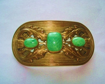 Green Stones Vintage Jewelry  Brooch Gold Tone