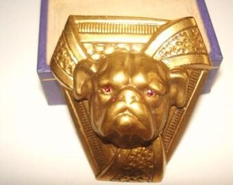 Bull Dog Animal Brooch Gold Tone Ruby Rhinestone Repousse Brooch