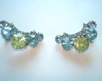 Signed Weiss  Rhinestone Earrings Silver Tone