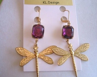 Amethyst Stones Crystal Dragonfly Gold Tone Vintage Jewelry Earrings