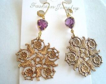 Amethyst Glass Vintage Jewelry  Gold Tone Filigee Dangle Earrings