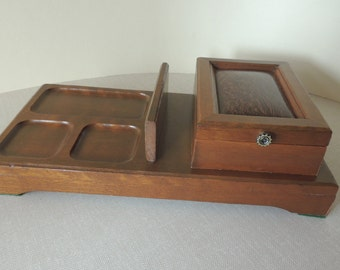 Men's Wood Jewelry Box. Wood Dresser Top Valet Caddy. Cell Phone, Money Holder, Eye Glass Holder