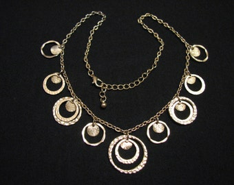 Vintage Brushed Gold Tone Hammered Charmed Rings Bib Choker Necklace