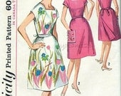 Vintage 1960s Pattern Square Neckline Back Wrap Dress Patch Pocket 1964 Simplicity 5437 Bust 35 UNCUT