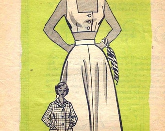 Vintage 1950s Wardrobe Pattern Button Front Cropped Top Playsuit Oversized Shirt and Flared Skirt 1955 Mail Order 3852 Bust 32