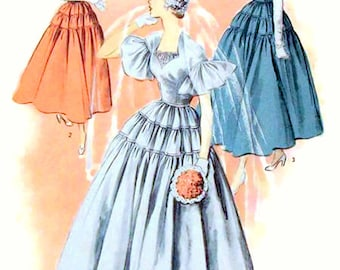 Vintage 1950s Tiered Wedding or Evening Gown Pattern Cap or Ruffled Sleeves Advance 5503 Bust 34