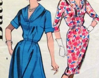 Vintage 1960s Shirtwaist Dress Pattern Draped Collar Flared or Slim Skirt 1960 Butterick 9734 Bust 35)