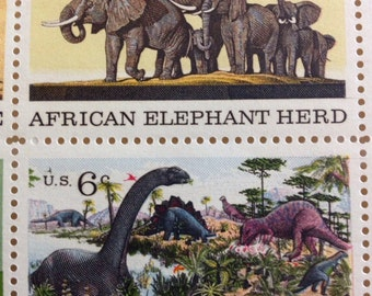 Postage Stamps Plate Block elephant, bald eagle, ceremonial canoe, age of reptiles, uncanceled United States 6 cent stamps FREE SHIPPING