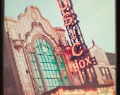 Music Box Theatre - Chicago Photography, Wall Art Print - Vintage Theatre Marquee, cranberry, teal, retro inspired, Chicago home decor