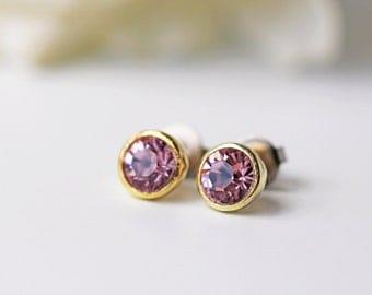 Small Light Purple Crystal Titanium Stud Swarovski Crystal Light Amethyst Gold Simple Earrings