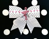 Flamingo Sparkly Delight Mini Dots Hair Bow - White - Retro - Rockabilly