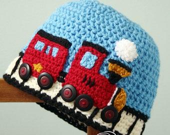 Train Hat, Choo Choo Train Hat, Crochet Beanie, Railroad Cap, Boy's Clothing, Girl's Clothing, Accessories, Winter Hat, Photography Prop