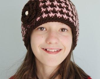 Houndstooth Flower Hat, Crochet Houndstooth Beanie, Checkered Beanie, Rose Hat, Flower Hat, Winter Hat, Girl's Clothing, Women's Clothing