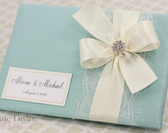 Aqua Blue Wedding Guest Book Custom Made in Your Colors