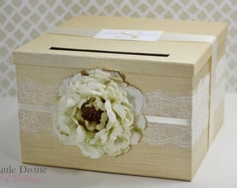 Wedding Card Box Champagne Gold Lace Money Holder Customizable