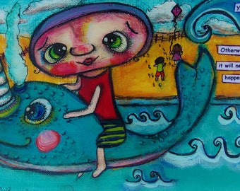 Narwahl Original Painting - Cute Sea Creature and Person in the Ocean