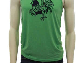 Retro Rooster| Unisex lightweight tank top| Art by MATLEY| Men's soft Jersey Tank| Gym| Workout apparel| Chicken farm| Gift for him and her.