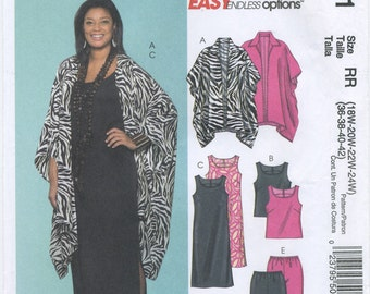 Long Jacket, Top, Dress, Skirt, Pants, Sewing Pattern Size 18, 20, 22, 24 McCall's M5061 Uncut, Women's Plus Size