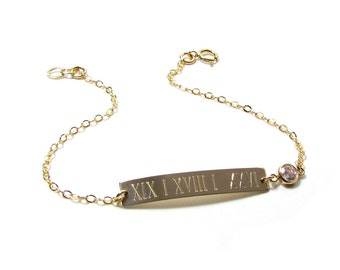 Anniversary Date Roman Numeral Engraved Nameplate Necklace