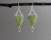 Gaspeite and Peridot Earrings in Sterling Silver, Green Dangle Earrings