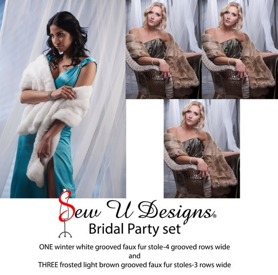 Bridal Party Set of ONE grooved stole 4 rows wide and THREE stoles shawls 3 grooved rows wide wrap