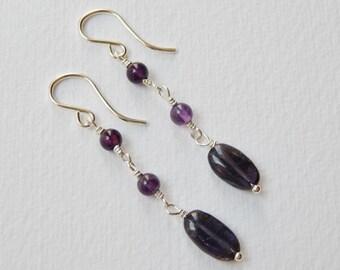 Amethyst and Iolite Earrings - Sterling Silver Dangle Earrings Beadwork Earrings Beaded Rosary Earrings