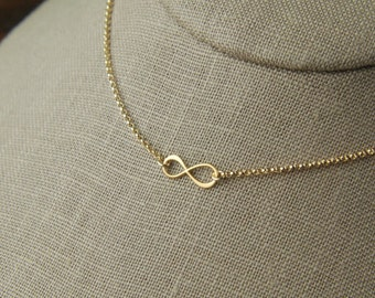 Tiny gold infinity symbol and gold filled necklace, gold necklace, gold infinity charm, gold eternity, infinity jewelry