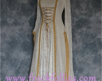 Medieval Wedding Dress,Renaissance Gown,Elvish Wedding Dress,Robe Medievale,Pre Raphaelite Dress,Hand Fasting Dress,Dora