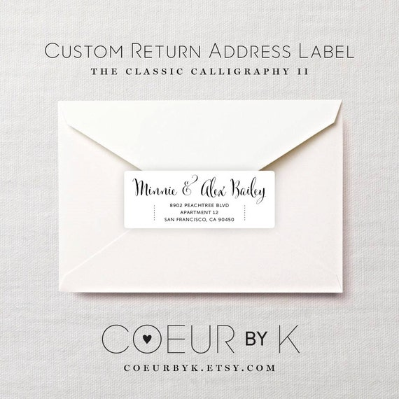 Custom Return Address Label The Classic Calligraphy By