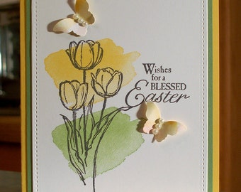 "Handmade Stampin Up Wishing You a Blessed Easter Card - 4 1/4"" x 5 1/2"" - Watercolor Tulips & Butterflies"