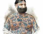 antique victorian illustration circus performer elephant tattooed man print DIGITAL DOWNLOAD