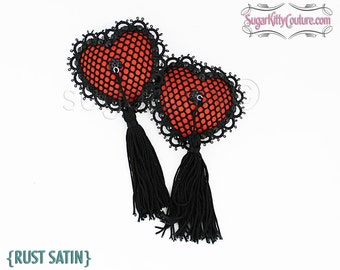 Heart Shaped Fishnet Nipple Pasties with Tassels - SugarKitty Couture