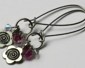 Pink Swarovski Crystal Flower Earrings, One of a Kind, Gifts for Women Mom Wife Sister Daughter Grandma Teacher Under 15, Stocking Stuffers