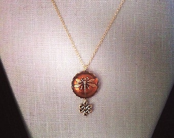 Dragonfly in Amber, Gold Celtic Knot Dragonfly Necklace, Outlander, Dragonfly Jewelry Celtic Wedding Irish Jewelry Bridesmaids Gift
